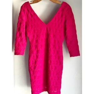 H&M Small Hot Pink Lined Deep Cut Back Vneck Dress